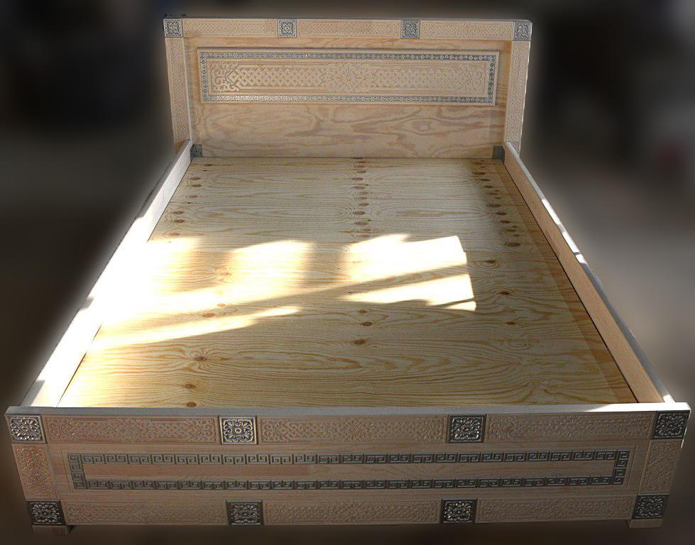 Кровать двухспальная из массива Сагаан Дангина 1400х2000х850