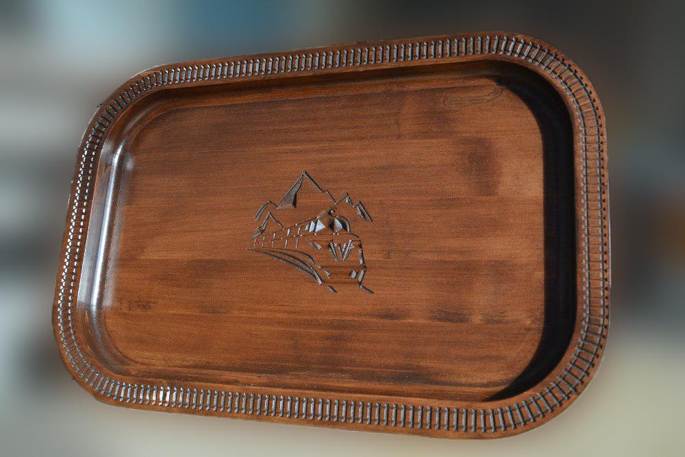 Поднос подарочный из кедра с логотипом