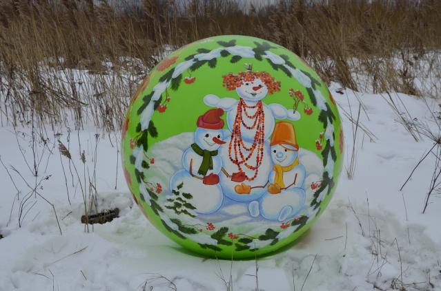 Сфера с росписью Веселые снеговики, 1200мм