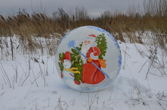 Сфера с росписью Дед Мороз и Снеговик, 1200мм