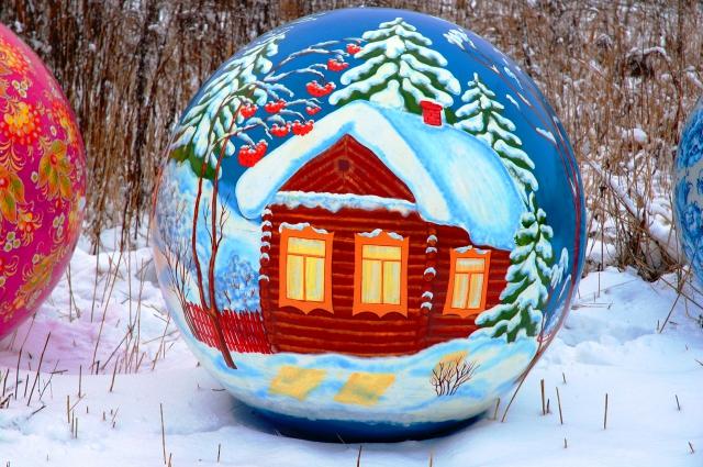 Сфера с росписью Зимняя деревня, 1200мм