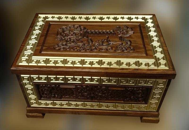 Деревянная шкатулка Дангина с декором Арсалан, 300мм